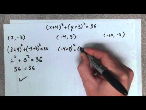 Find the equation of a circle given its center and a point it passes thru