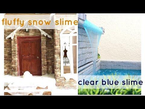 DIY: clear blue SLIME / fluffy snow SLIME