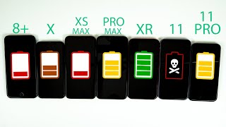 iPhone 11 vs iPhone 11 Pro vs Pro Max vs XR vs XS Max vs X vs 8 Plus Battery Life DRAIN TEST