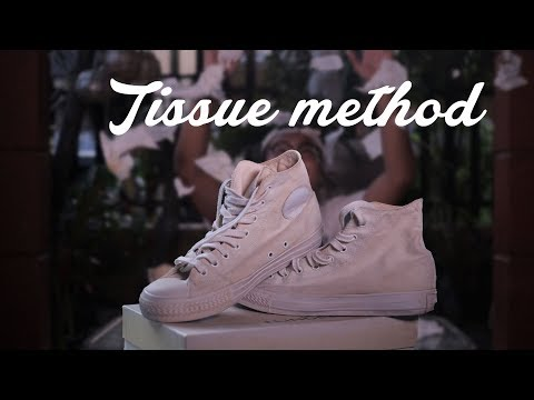 TISSUE METHOD Yellow stain remover on white shoes