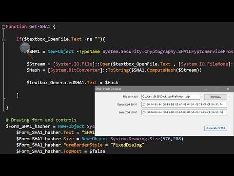 PowerShell Windows Forms Tutorial 3 : SHA1 Hash Checker