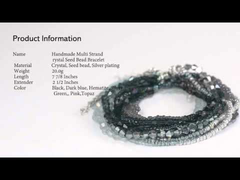 Handmade Multi Strand Crystal Seed Bead Bracelet