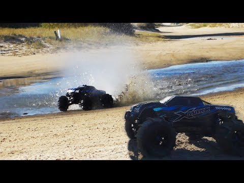 TRAXXAS XMAXX HYDROPLANES ON THE BEACH