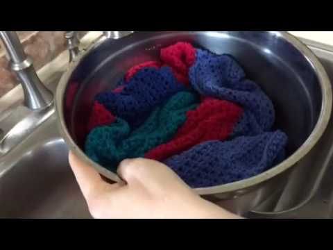 Washing out crocheted blanket (yarn)