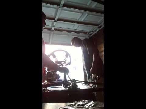 Homemade go kart, steering wheel