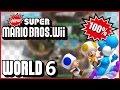New Super Mario Bros Wii - World 6 (Mountains) 100% multiplayer walkthrough