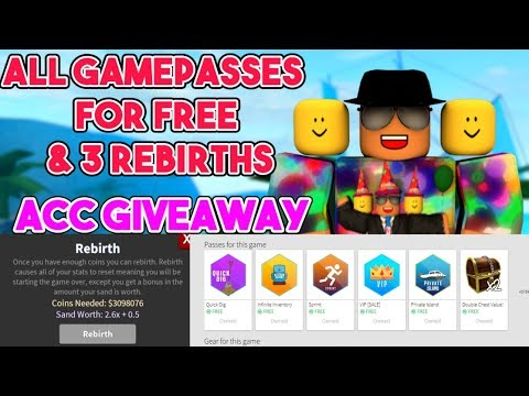 [Roblox] Treasure Hunt Simulator: ALL GAMEPASSES FOR FREE & 3 REBIRTHS (ACC giveaway)