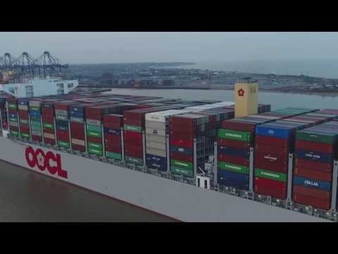 Worlds Largest Container Ship OOCL HONG KONG, Maidens At Felixstowe UK-Up Close Drone Footage!