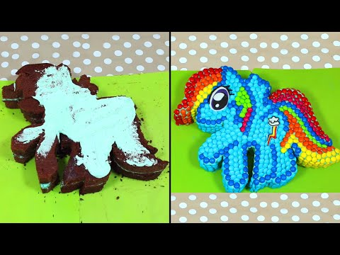 Ultimate My Little Pony Rainbow Dash m&m Cake Recipe | Birthday Cake Decorating for Beginners