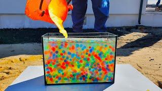 100000 Orbeez VS Lava in Aquarium  Crazy Experiment