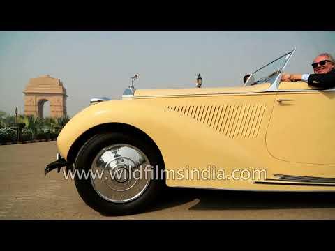 Vintage Bentley, Jaguar and Rolls Royce run on the roads of Delhi