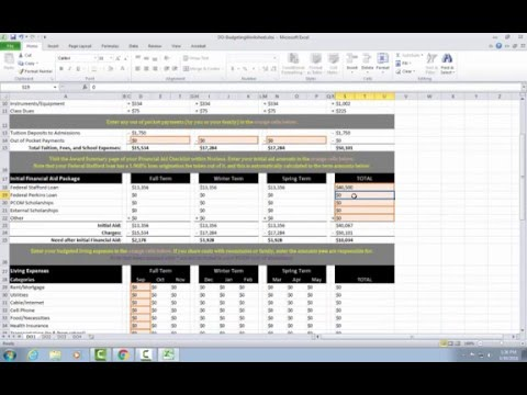 PCOM Budgeting Worksheet Tutorial