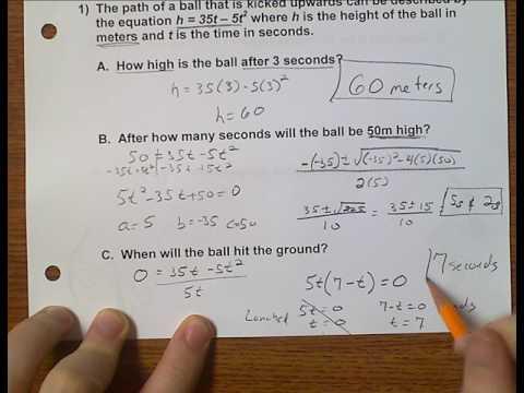 Algebra 1 (Topic 7-5) Quadratic Applications