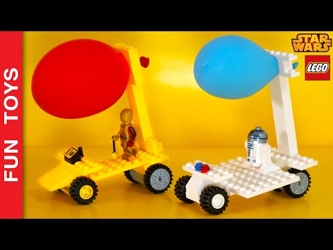Make a balloon powered Lego Car! Who will win the Star Wars race? C-3PO or R2-D2? Kids activities 🎈