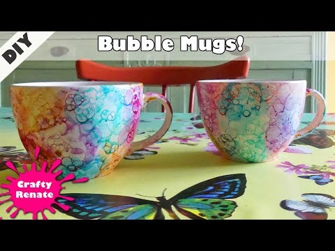 Bubble Painting tutorial - Personalized Mugs