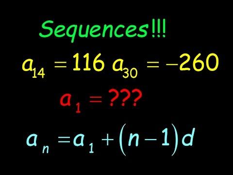 al2 Arithmetic Sequences given two terms Algebra 2 common core