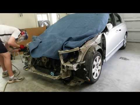 2009 HONDA CIVIC REBUILD | HOW TO REPLACE A RADIATOR SUPPORT PART 1 of 2