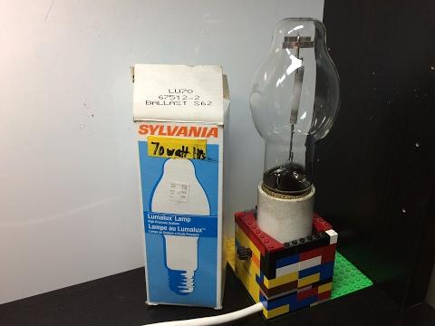 Sylvania 70 watt High Pressure Sodium Clear Mogul Base Bulb Turning On!