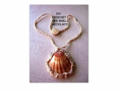 DIY How to CROCHET a  SEA SHELL NECKLACE, jewelry making, crochet jewelry
