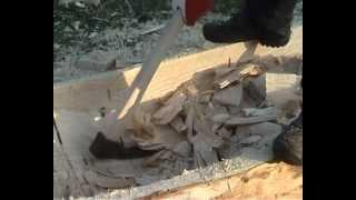 Dugout canoe making process (Vienkoči park)