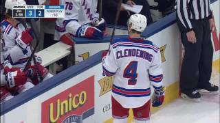 Hyman picks Clendening's pocket to score short-handed on Lundqvist