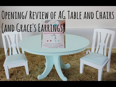 Opening/Review of American Girl Dining Table and Chairs (and Grace's earrings)