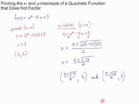 finding x- and y-intercepts of a quadratic function