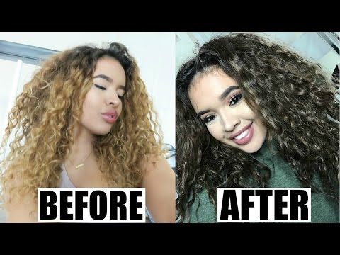 DIY: DYING MY CURLY NATURAL HAIR | BLEACHED to BROWN