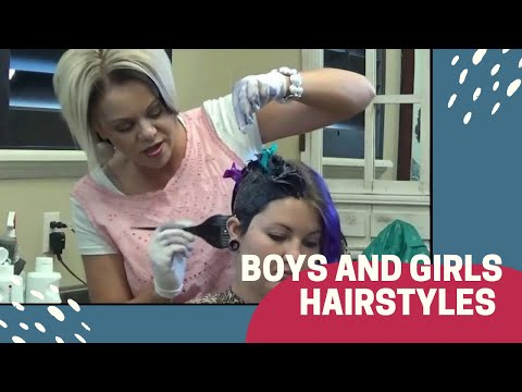 Girls Haircut and Hair Color Tutorial  (Trendy Purple Hair)
