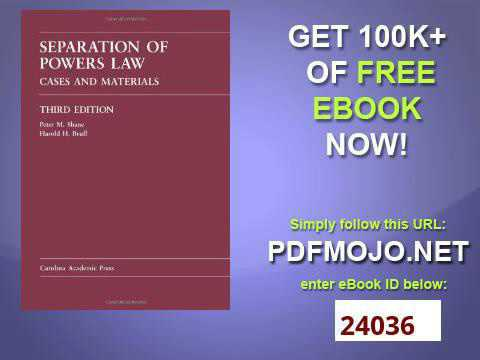 Separation of Powers Law Cases and Materials