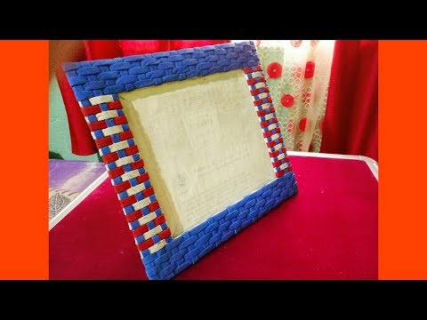 Newspaper PhotoFrame Tutorial | Cardboard Photo Frame | Best out of waste