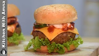 KFC Style Beef Burger Recipe - Special Burger Recipe by Kitchen With Amna