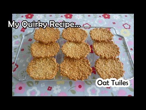 Oat Tuiles (thin crispy cookies) - very easy recipe (燕麥瓦片餅乾)