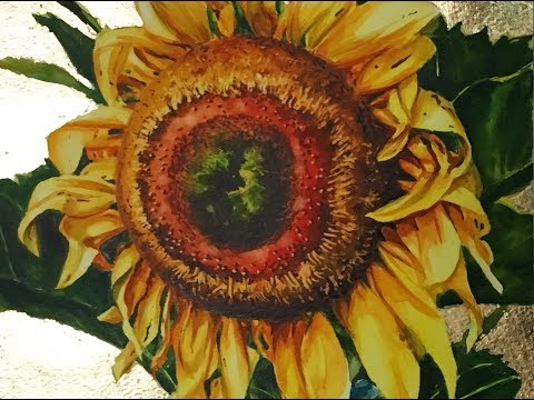 Sunflower with Gold Leaf