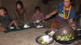 Pumpkin curry recipe ll cooking organic potatoes curry and mother feeding food to children