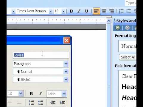 Microsoft Office Word 2003 Create a new style