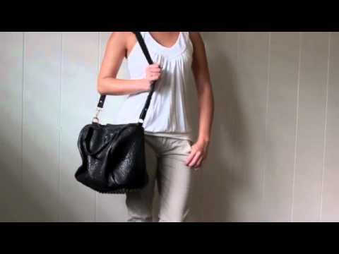 Alexa Studded Calfskin Leather Bag Black  e2d97c9430514