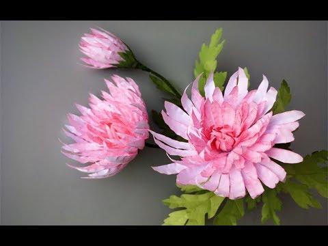 ABC TV   How To Make Pink Chrysanthemum Flower From Printer Paper - Craft Tutorial