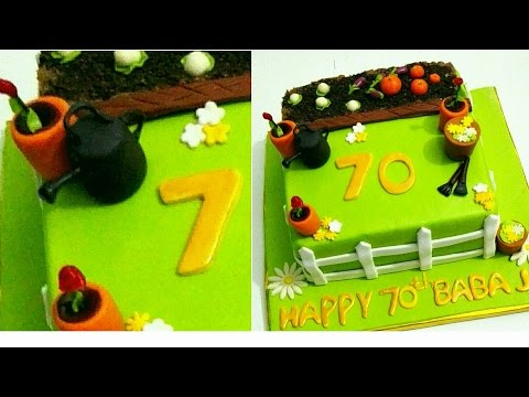 How to make Fondant toppers for Gardening theme cake.  Gardening theme cake. Cake for gardener