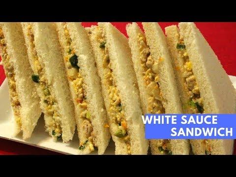 Sandwich With Cooked White Sauce Spread | Breakfast Sandwich Recipe | Chicken & Egg Sandwich, Snacks