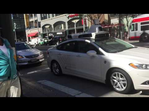 Uber self-driving car on Mission Street / 4th Street in San Francisco