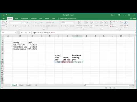 How to Calculate number of Working Days between two Dates in Excel 2016