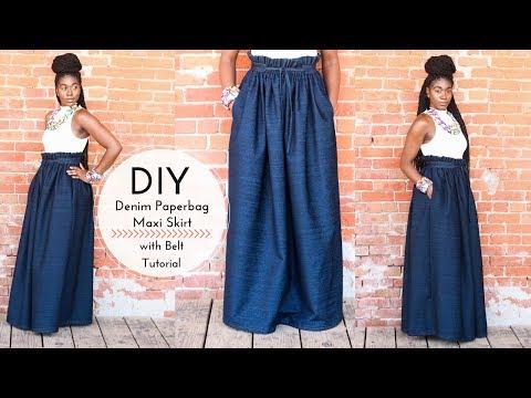 DIY Denim Paper Bag Maxi Skirt with Belt | Part 2