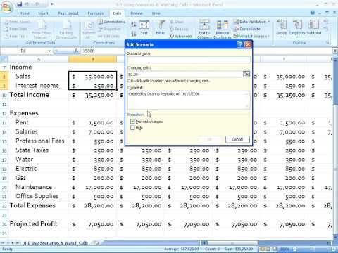 Excel 2007 Creating and Displaying Scenarios