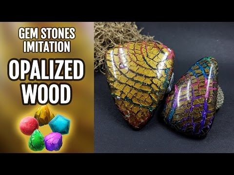 DIY Opalized Wood stone. Polymer Clay Realistic Gemstone imitation technique. VIDEO Tutorial!