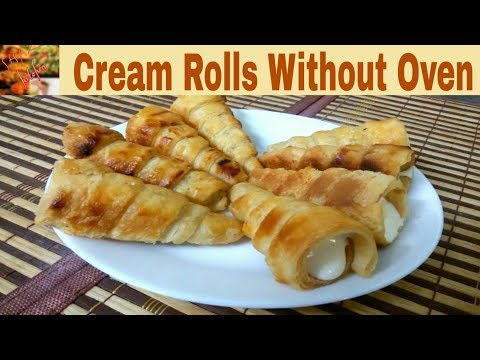 Cream Rolls Recipe Without Oven(In Urdu/Hindi)How To Make Cream Rolls In Pressure Cooker At Home