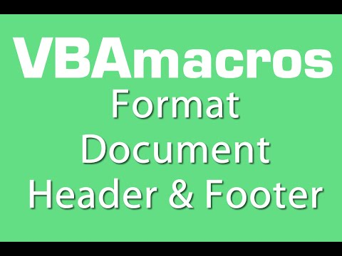 Format Document Header And Footer - VBA Macros - Tutorial - MS Excel 2007