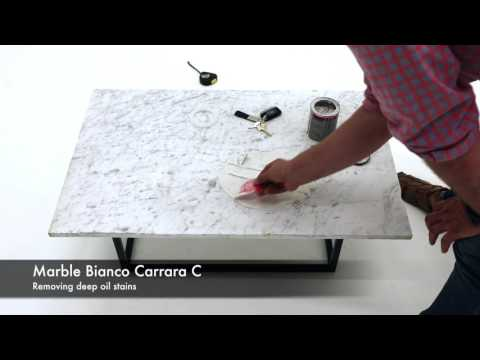 Marble Bianco Carrara removing deep oil stains