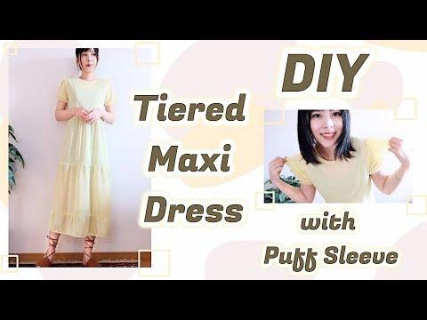 DIY Tiered Maxi Dress / 手作り ファッション * ティアードロングワンピースの作り方 / 옷만들기 / Costura / Sewing Tutorialㅣmadebyaya
