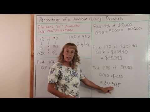Percent of a number using decimals